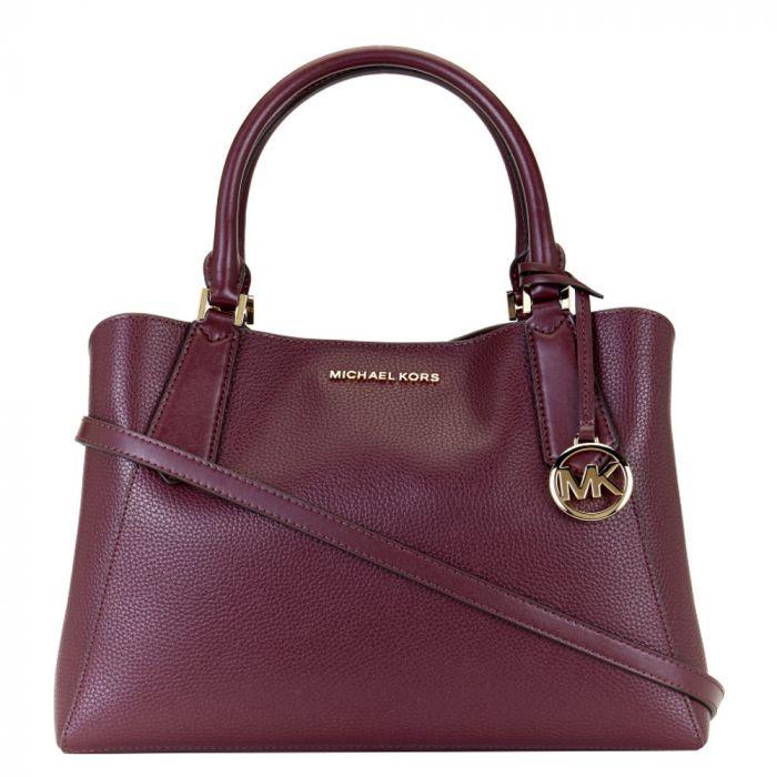 Michael Kors Kimberly Large Satchel Leather Bag - Merlot