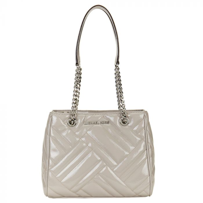 Michael Kors Medium Quilted Patent Leather Tote - Grey