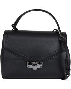 Michael Kors Kinsley Leather Satchel Crossbody Bag - Black