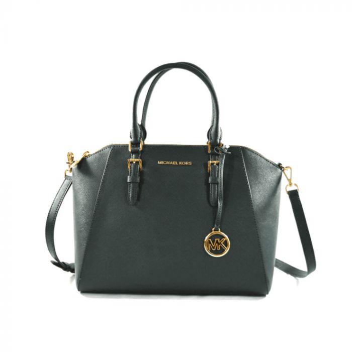 Michael Kors Large Ciara Top Zip Womens Saffiano Leather Satchel - Green