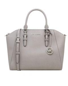 Michael Kors Ciara Large Top Zip Saffiano Leather Satchel - Grey