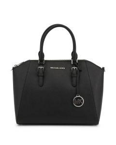 Michael Kors Large Ciara Top Zip Womens Saffiano Leather Satchel - Black
