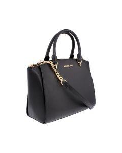 Michael Kors Ellis Ladies Large Leather Satchel Handbag - Black