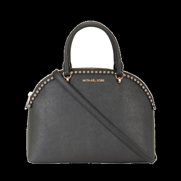 Michael Kors Emmy Leather Studded Scalloped Edge Shoulder Bag - Black