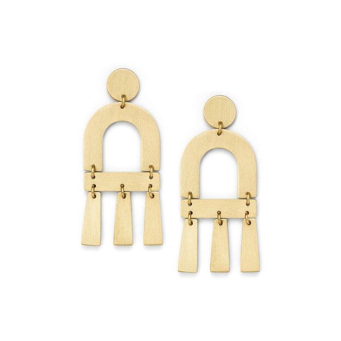 Fossil Women's Brushed Brass Chandelier Earrings - Gold