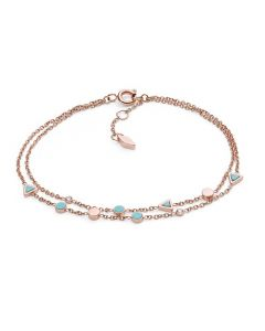 Fossil Women's Turquoise Double Chain Bracelet - Rose-Gold