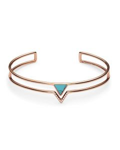 Fossil Women's Turquoise Triangle Open Cuff Bracelet - Rose Gold