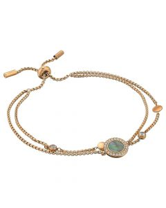 Fossil Womens Grey Mother-of-Pearl and Rose Gold Multi-Strand Slider Closure Bracelet