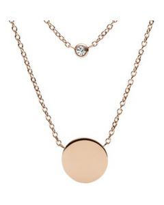 Fossil Women's Engravable Double Glitz Steel Necklace- Rose Gold