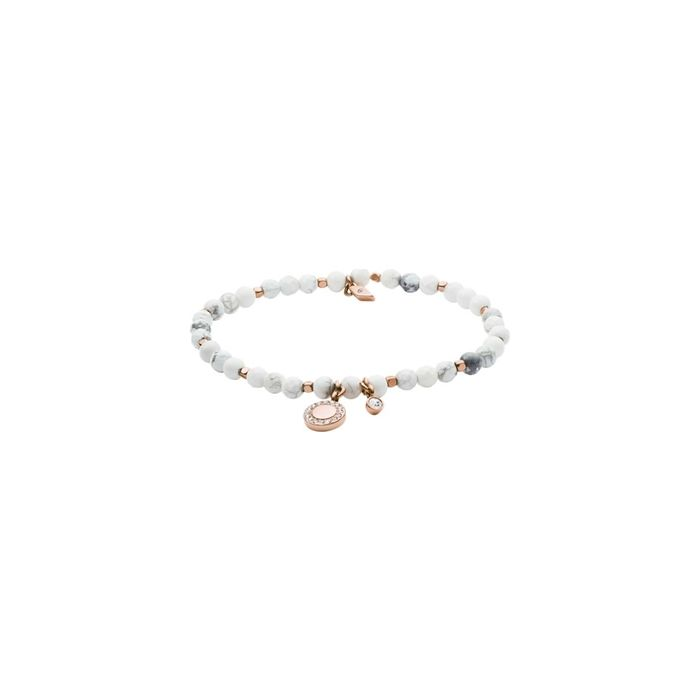 Fossil Women's Bracelet Howlite Beaded - Rose Gold