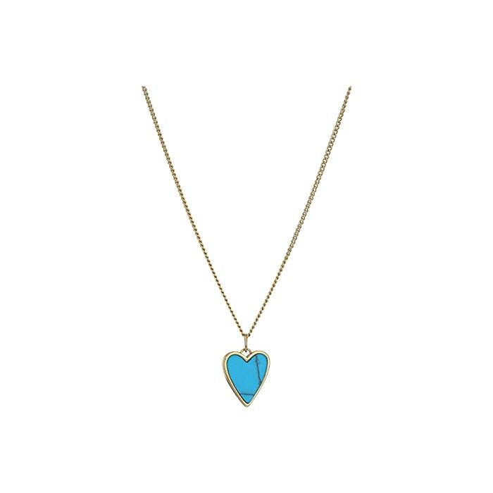 Fossil Women's Necklace Heart - Blue Gold/Stainless Steel