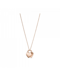 Fossil Duo Heart Necklace Jewelry Rose Gold-Tone Stainless Steel