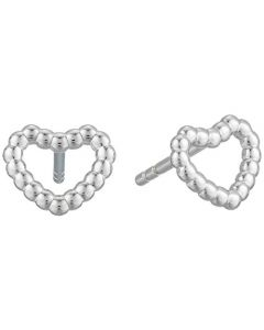 Fossil Women's Earrings Open Heart Sterling Set - Silver