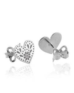 Tanya Moss Silver Heart Studs