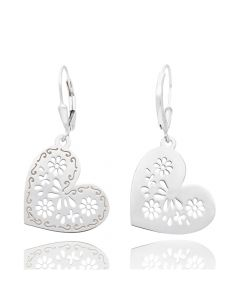 Tanya Moss Women's Mexicanized Heart Earrings - Silver