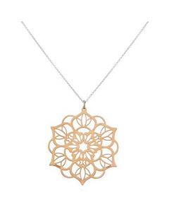 Tanya Moss Women's Necklace Zen Mandala Large Pendant with Vermeil- Rose Gold