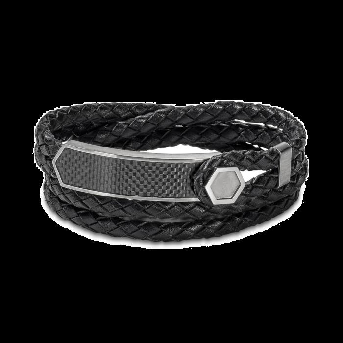 Bulova Men's Braided Leather Wrap Bracelet - Stainless Steel