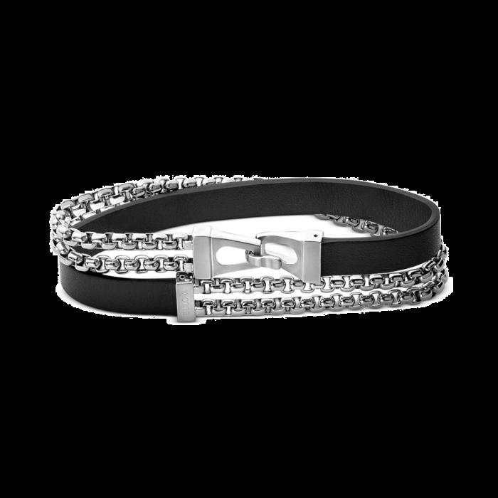 Bulova Men's Leather Wrap Bracelet - Sterling Silver
