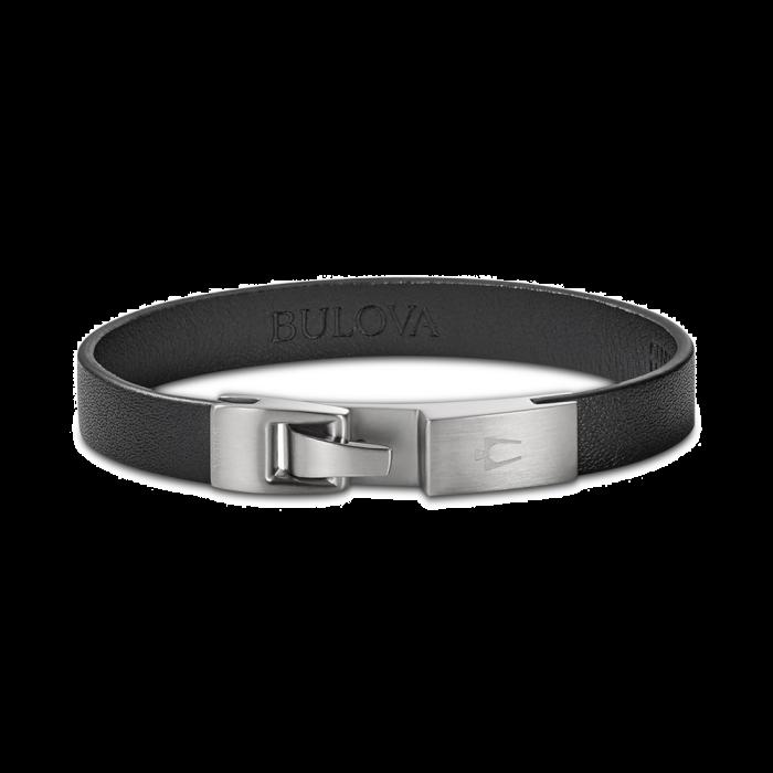 Bulova Men's Leather Bracelet - Stainless Steel