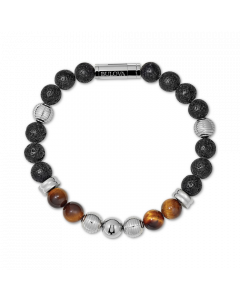 Bulova Men's Tigers Eye & Black Lava Bead Bracelet - Large