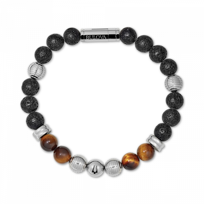 Bulova Men's Tigers Eye & Black Lava Bead Bracelet - Meidum