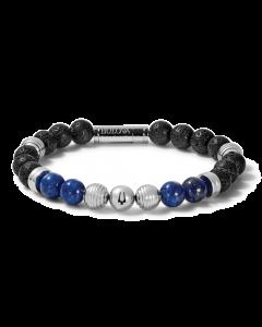 Bulova Classic Lapis Bead Bracelet Stainless Steel