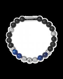 Bulova Men's Classic Lapis Bead Bracelet Stainless Steel - Medium