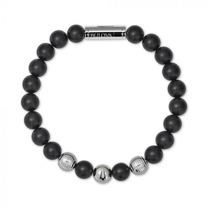 Bulova Men's Medium Black Onyx Bead Bracelet in Stainless Steel - Black Onyx