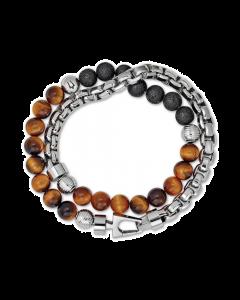 Bulova Men's Tiger's Eye & Black Lava Bead Bracelet Stainless Steel - Large