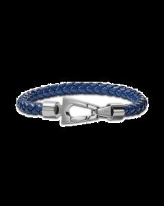 Bulova Men's Blue Braided Leather Bracelet Medium - Stainless Steel
