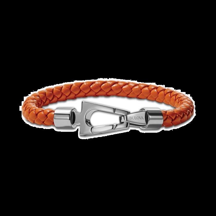 Bulova Men's Orange Braided Leather Bracelet in Stainless Steel - Medium
