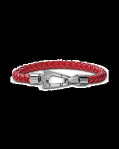 Bulova Men's Red Braided Leather Bracelet in Stainless Steel - Medium