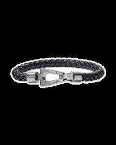 Bulova Men's Black Braided Leather Bracelet Large - Stainless Steel