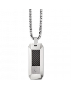Bulova Men's Carbon Fiber Dog Tag Pendant Necklace in Stainless Steel