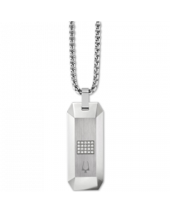 Bulova Men's Diamond Dog Tag Pendant Necklace in Stainless Steel