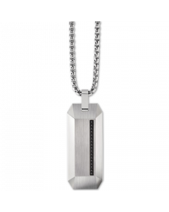 Bulova Men's Diamond Accent Beveled Dog Tag Pendant Necklace in Stainless Steel