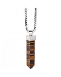 Bulova Men's Faceted Tiger's Eye Pendant Necklace in Stainless Steel