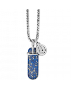 Bulova Men's Lapis Pendant Necklace - Stainless Steel/Blue