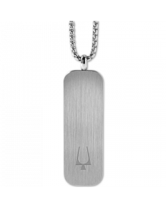Bulova Men's Tuning Fork Logo Dog Tag Pendant Necklace in Stainless Steel
