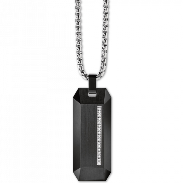 Bulova Men's Diamond Accent Beveled Dog Tag Pendant Necklace - Stainless Steel
