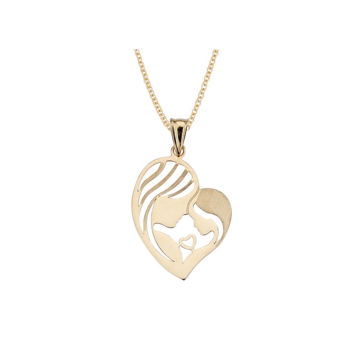 14K Yellow Gold Mother & Child Heart Pendant