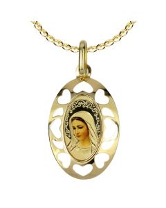 14K Yellow Gold Mother Mary Oval Picture Pendant