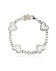 Sterling Silver Butterfly Heart Bracelet