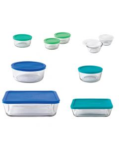 Anchor Hocking 20-Piece Storage Set With Mixed Blue Lids