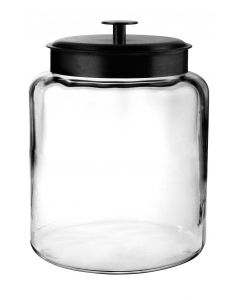Anchor Hocking Montana Glass Jar With Fresh Sealed Lid - Black Metal - 2 Gallon -