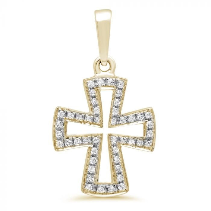 14K Yellow Gold .09Ct Diamond Cross Pendant