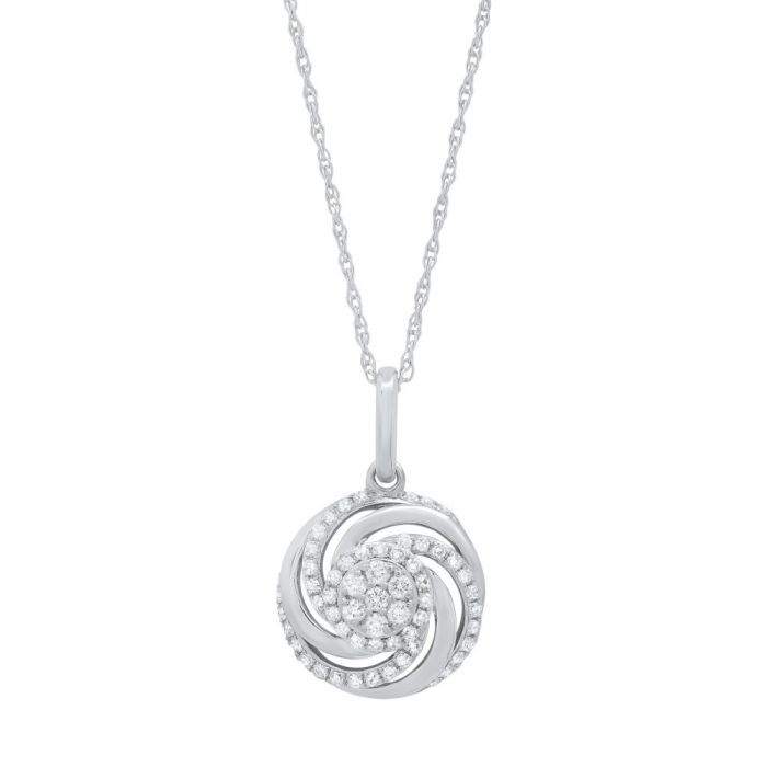 14K White Gold .21Ct Diamond Pendant Necklace