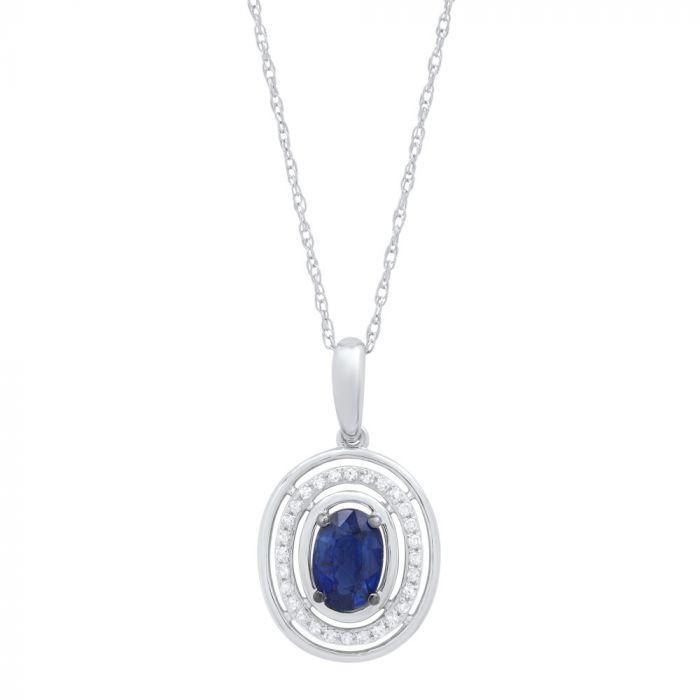 14K White Gold .08Ct Sapphire Pendant Necklace