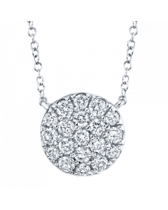 14K 0.43Ct White Gold Diamond Pave Circle Necklace