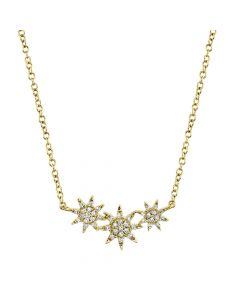 14K 0.09CT Yellow Gold Diamond Star Necklace